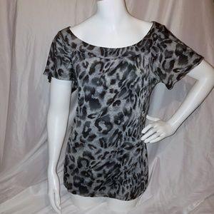 Charlotte Russe Leopard Print Gray Black Blouse